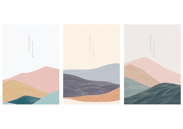일본식 추상 풍경 배경입니다. 선 요소와 산.