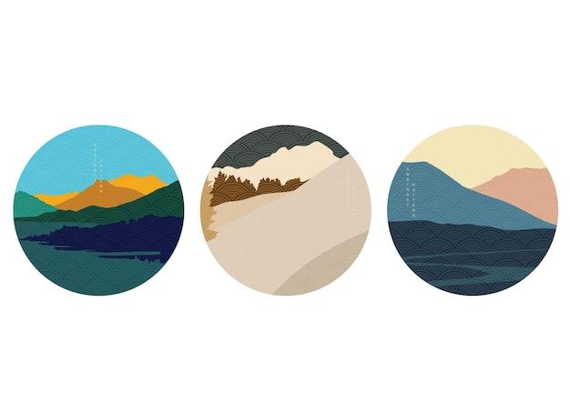 Абстрактная предпосылка ландшафта с японским вектором картины волны. шаблон естественного искусства в винтажном стиле.