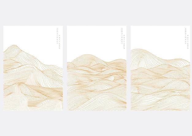 Абстрактный пейзажный фон с японским волновым узором