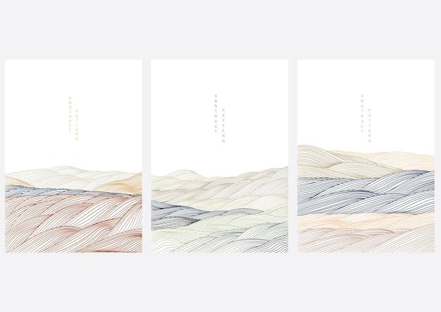 線で抽象的な風景の背景。オリエンタルスタイルの日本の波のテンプレート。ネイチャーアートポスターデザイン。