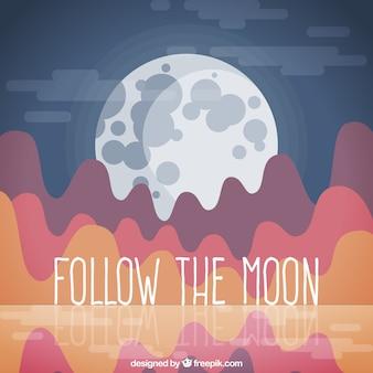 달과 추상 풍경 배경