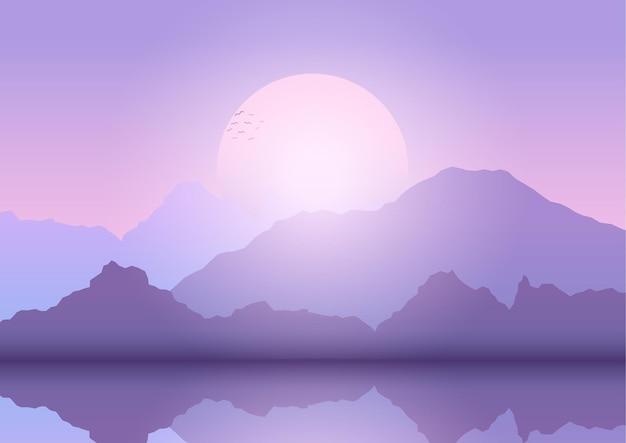 Fondo astratto del paesaggio con le montagne al tramonto