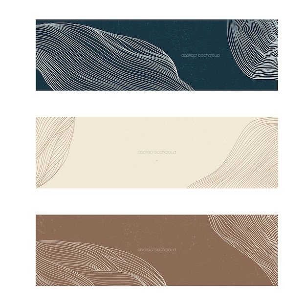 Abstract landscape banner with line pattern vector. curve background with liquid shape.