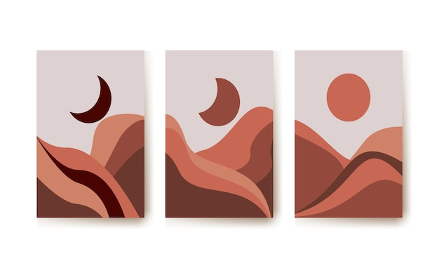 Abstract landscape illustration for printable wall art