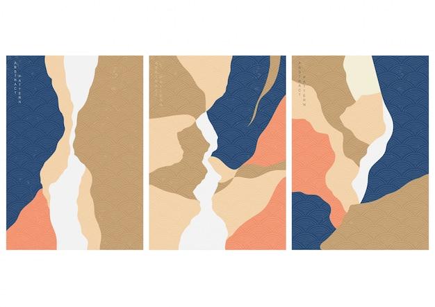 Абстрактная иллюстрация ландшафта с вектором стиля японской волны. природный ландшафт иллюстрации.