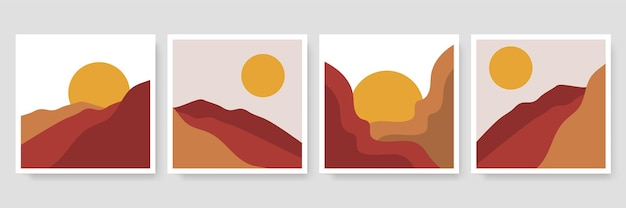 Abstract landscape illustrations collection.   trendy mid century art, boho home decor, wall art.