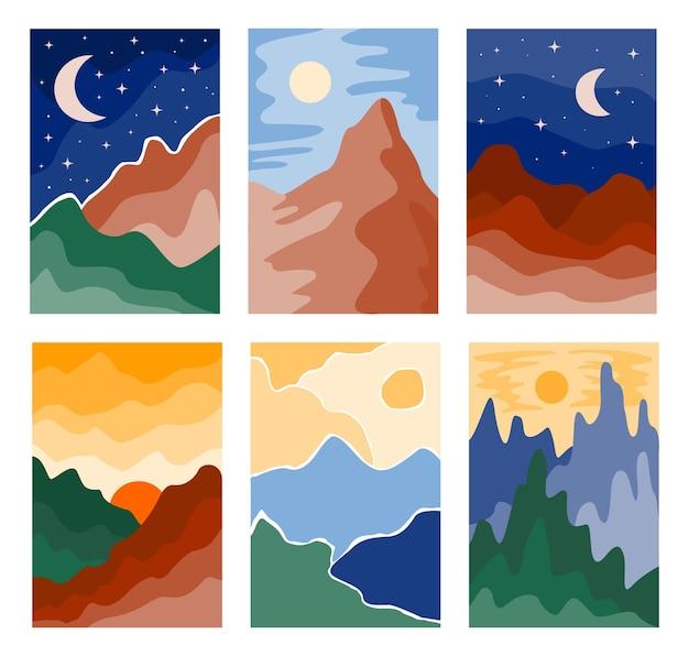 산, 태양, 달, 바다, 숲으로 구성된 추상적인 풍경의 현대적인 배경. 중반 세기 현대 미니멀 아트 인쇄. 지구 색상에서 스칸디나비아 포스터 디자인입니다. 벡터 boho 그림 컬렉션
