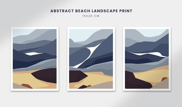 추상 풍경 포스터 예술 손으로 그린 모양 커버 아름다운 해변으로 설정 프리미엄 벡터