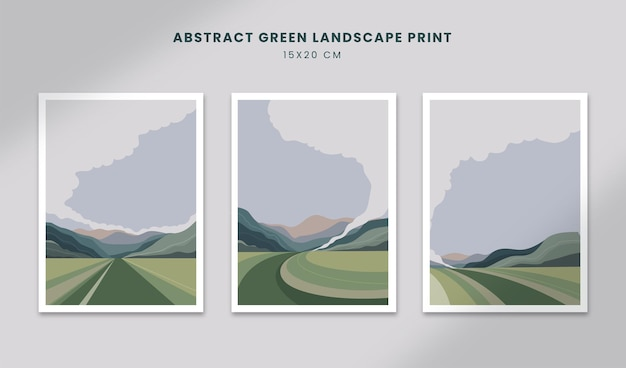 추상 풍경 포스터 예술 손으로 그린 모양 커버 아름다운 풍경으로 설정