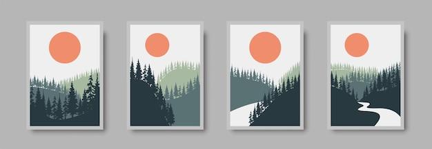 Abstract landscape wall art set.