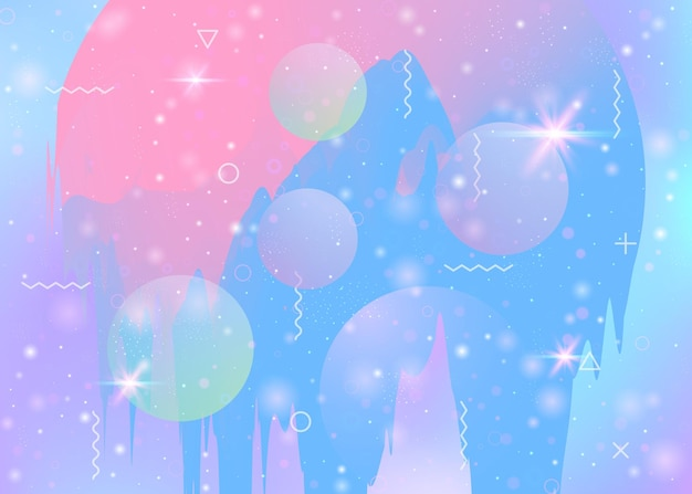 Abstract landscape with holographic cosmos and future universe background. 3d fluid. plastic mountain silhouette with wavy glitch. futuristic gradient and shape. memphis abstract landscape.