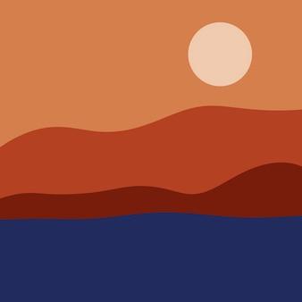 山と海の抽象的な風景