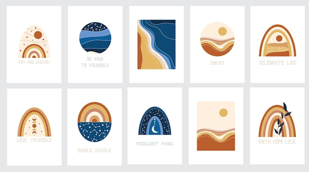 Abstract landscapes and rainbow clipart. vector illustration.