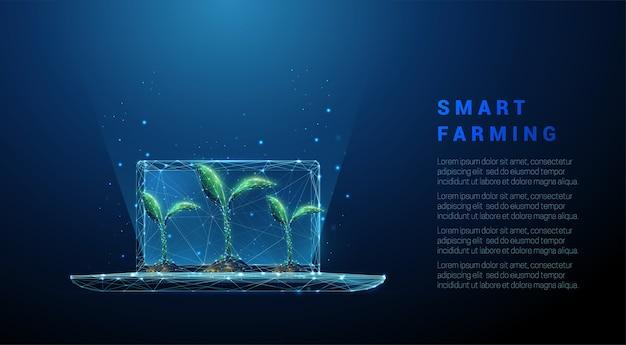 緑の植物と抽象的なラップトップ。スマート農業のコンセプト。低ポリスタイルのデザイン。青い幾何学的な背景。ワイヤーフレームライト接続構造。モダン。分離。