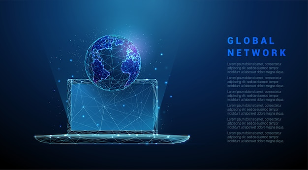Abstract laptop with planet earth. low poly style design. blue geometric background. wireframe light connection structure.