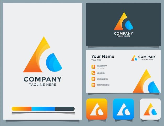 Абстрактный логотип latter c и визитная карточка
