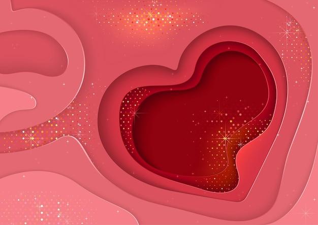 심장 모양과 반짝이 추상 계층화 된 배경