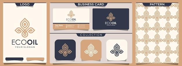 로고, 패턴 및 명함 디자인 모음의 초록 잎과 기름 요소