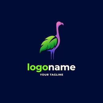Абстрактный лист фламинго градиент минималистский логотип