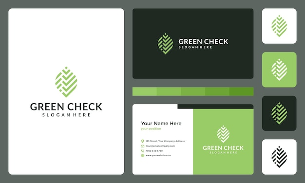 Abstract leaf logo and check symbol. business card.