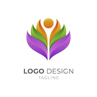 分離された抽象的な葉のロゴのテンプレートデザイン