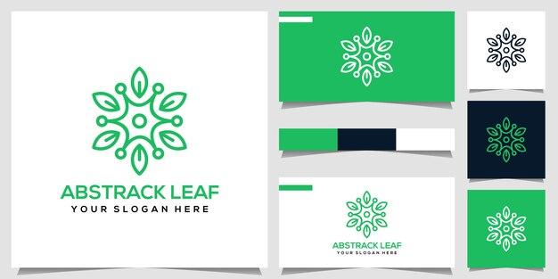 Абстрактный лист логотип Premium векторы
