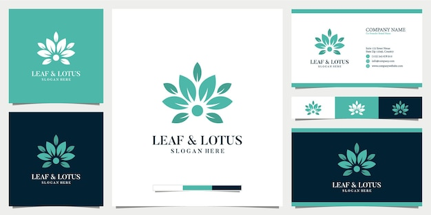 Abstract leaf and lotus logo with business card design