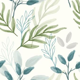 抽象的な葉の水彩画のシームレスなパターン