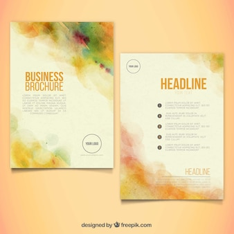 Abstract leaflet template in watercolor style