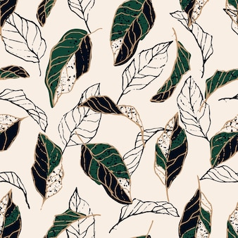 Abstract leaves dot and line element seamless pattern