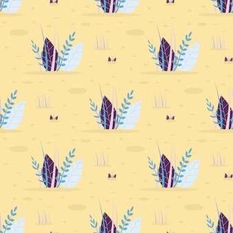 Abstract leaves grass vector seamless flat pattern