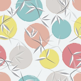Abstract leaves and pastel circle seamless pattern  background