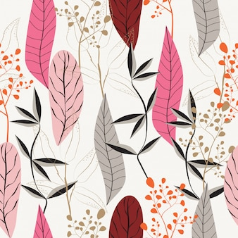 Abstract leaves seamless pattern  background
