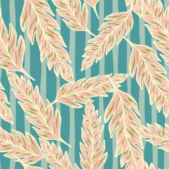 Abstract leaves seamless pattern on stripe background. creative foliage ornament. leaf backdrop. floral wallpaper. for fabric design, textile print, wrapping, cover. vector illustration