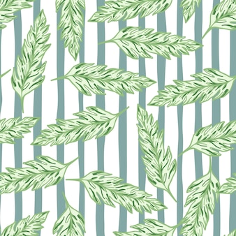 Abstract leaves seamless pattern on stripes background. vintage floral background.