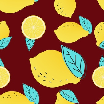 Abstract lemon fruit and leaf seamless pattern