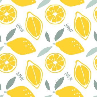 Абстрактный бесшовный паттерн лимонных фруктов по-детски рисованной каракули эскиз фона цитрусовых