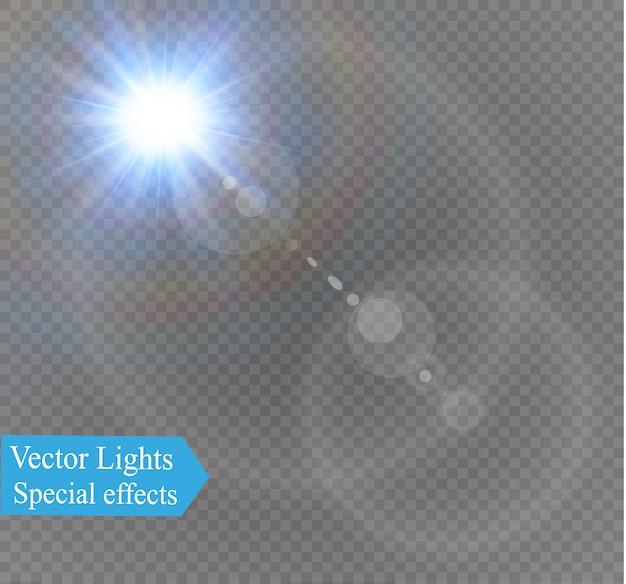 추상 렌즈 금 전면 태양 플레어 투명 특수 조명 효과.