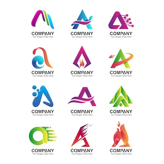 Abstract letter a logo template, company identity icons set, business name collection