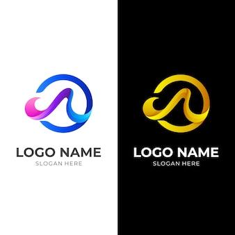 抽象文字モダンなデザインのロゴ、3dロゴ