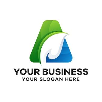 Абстрактная буква a с листьями градиентного дизайна логотипа