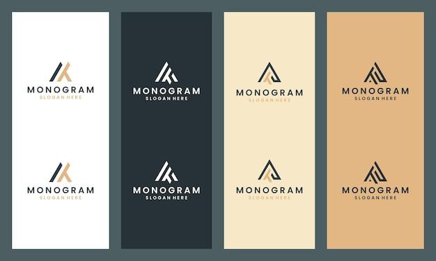 抽象文字atモノグラムロゴコレクション。