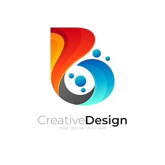 Abstract letter b logo colorful, babble icon