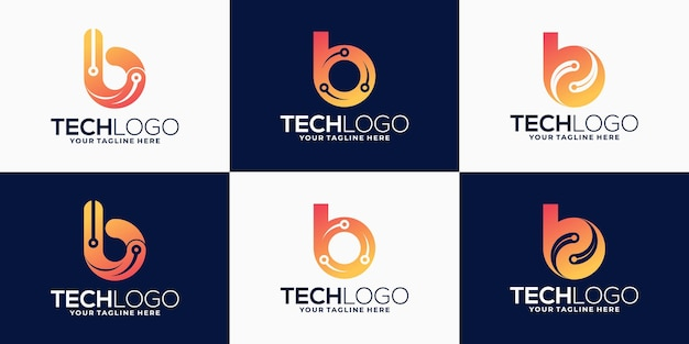 Abstract letter b logo for technology, biotechnology, tech icon logo design bundle