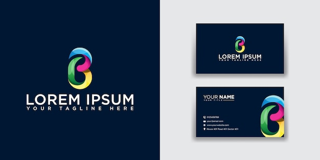 Abstract letter b logo with business card template