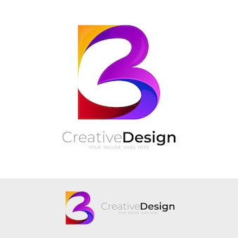 Abstract letter b logo with colorful design