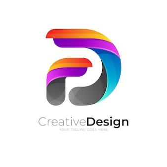 カラフルなデザインのベクトルと抽象的な文字dロゴ