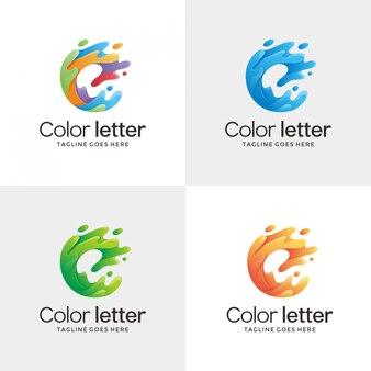 抽象的な手紙e輪郭ロゴデザインテンプレート