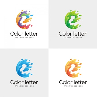 抽象的なレターeの輪郭ロゴ