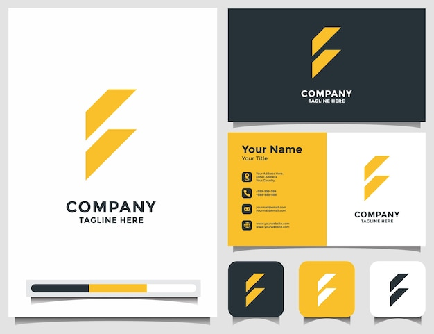 Abstract letter f logo with business card